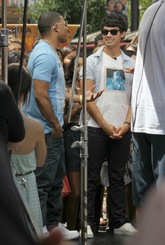 Joe Jonas and Nelly at The Grove for Extra