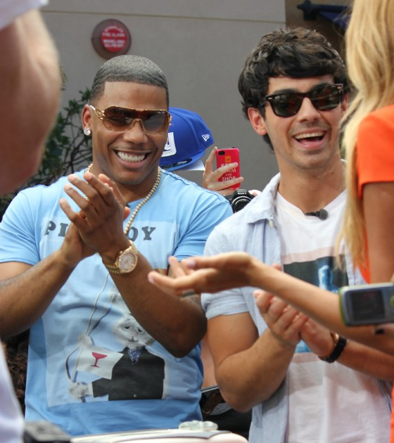 Nelly and Joe Jonas Appear on Extra at The Grove