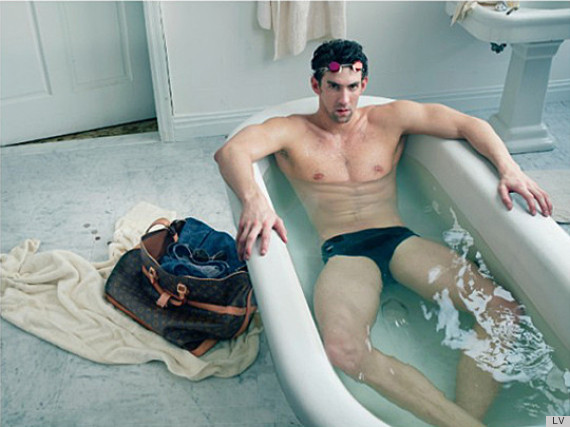 Michael Phelps wears Speedos in bath tub for Louis Vuitton ad