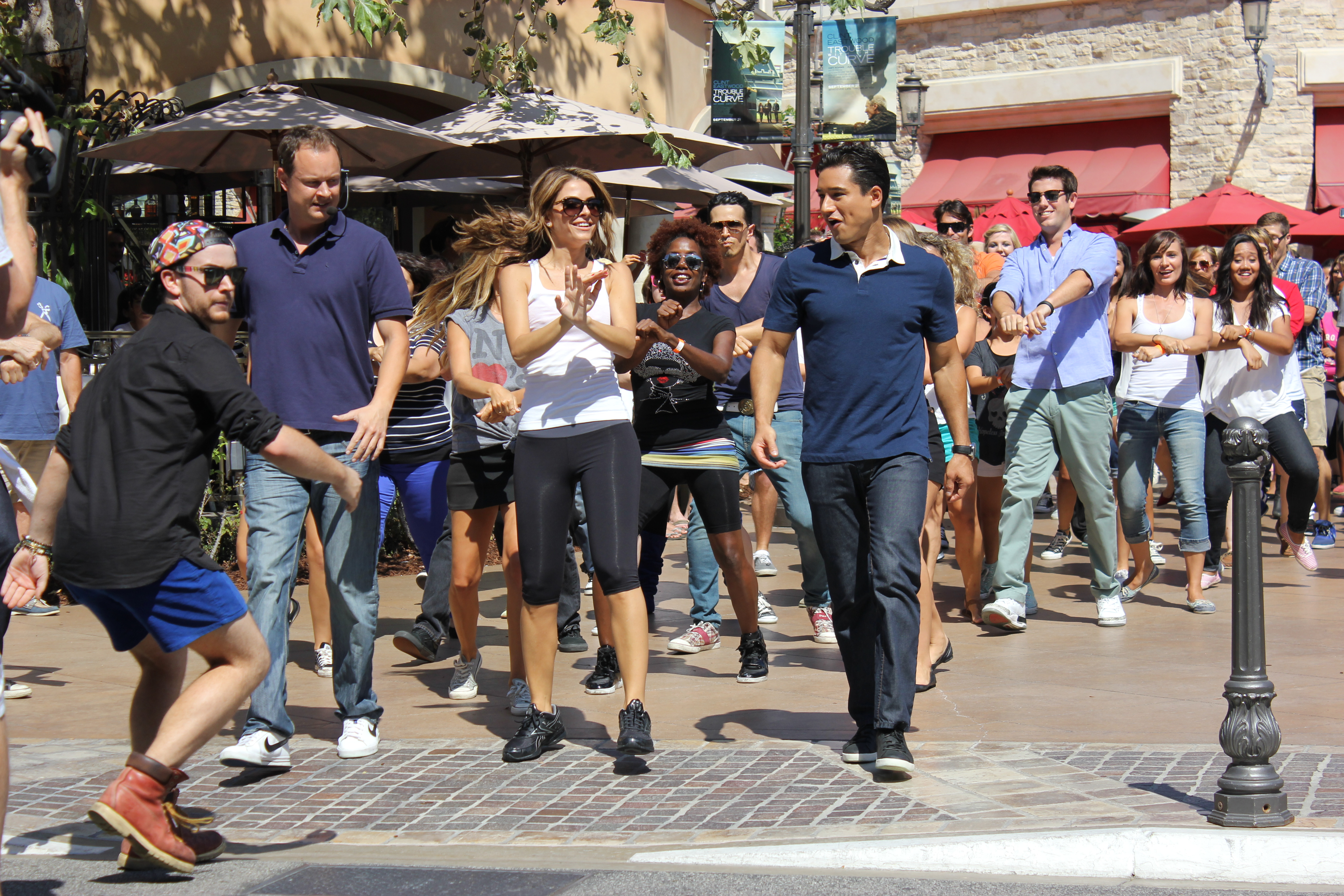 Mario Lopez and Maria Menounos do the Gangnam Style at The Grove