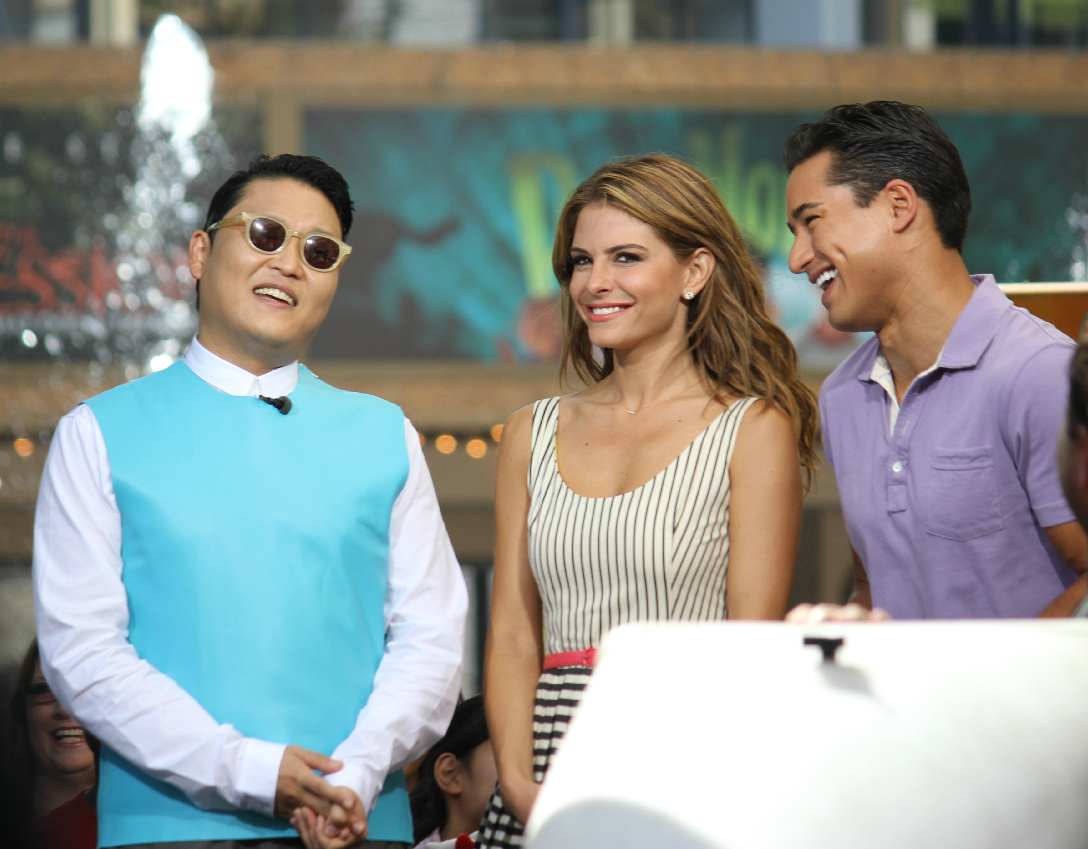 South Korean pop star Psy at The Grove with Maria Menounos and Mario Lopez for extra
