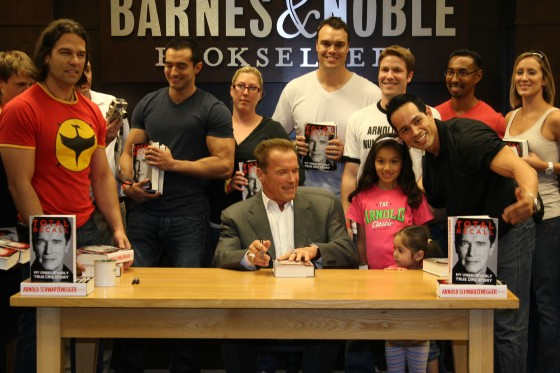 Arnold Schwarzenegger and fans attend Book signing