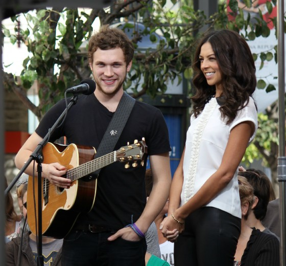 Phillip Phillips appears at an interview for Extra TV at the Grove