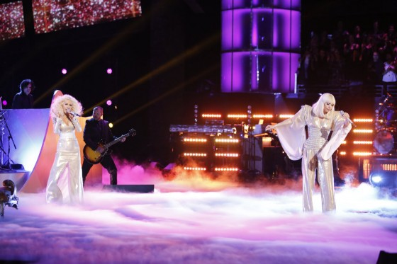 Christina Aguilera performs with Lady Gaga