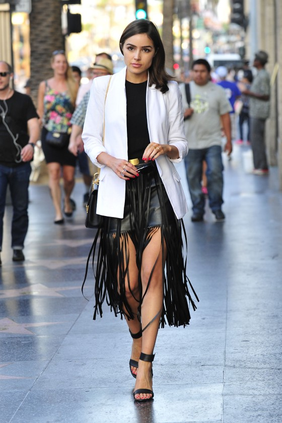 Olivia Culpo Rocks n: PHILANTHROPY Michelle-Fringe Vegan Leather ...