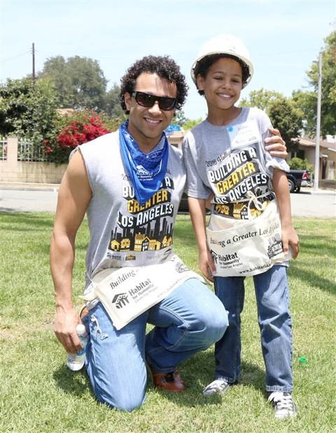 Corbin Bleu of High School Musical donates his time to help build homes with Habitat LA.