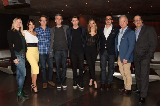 LOS ANGELES, CA - FEBRUARY 15: (L-R) Dawn Olmstead, actress Lexa Doig, actor Michael Vartan, executive producer Jonathan Abrahams, actor Josh Henderson, actress Christine Evangelista, .President of E! Adam Stotsky, Jeff Olde, and Chief Content Officer, NBCUniversal Cable Entertainment Jeff Wachtel attend E!'s 'The Arrangement' event on February 15, 2017 in Los Angeles, California.