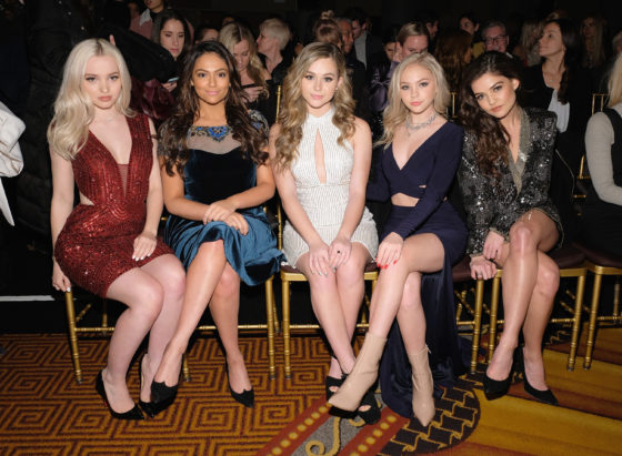 NEW YORK, NY - FEBRUARY 13: (L-R) Dove Cameron, Bethany Mota, Brec Bassinger, Jordyn Jones and Danielle Campbell attend the Sherri Hill NYFW Fall 2017 Runway Show during New York Fashion Week at Gotham Hall on February 13, 2017 in New York City.