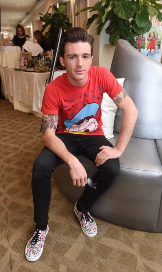 Drake Bell showed off his rocker side at Debbie Durkin's EcoLuxe Lounge sponsored by Chariot Travelware and Un Joyau Majestueux at The Beverly Hills Hotel in Beverly Hills, CA.