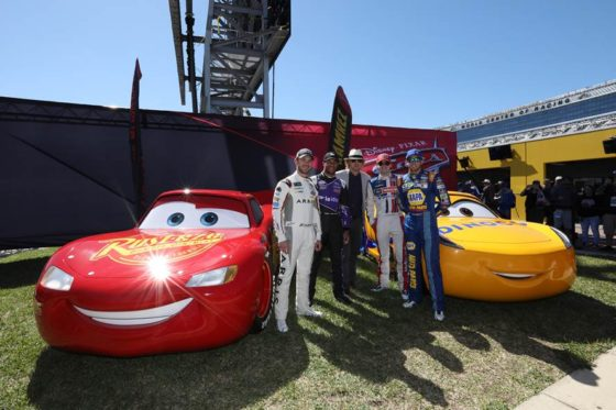 "Owen Wilson meets NASCAR drivers Daniel Suarez, Bubba Wallace, Ryan Blaney and Chase Elliott, all voices in the upcoming ""Cars 3"" film"