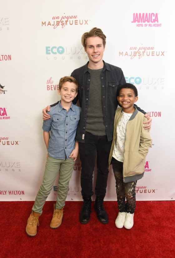 This Is Us co-stars (from left to right) Parker Bates, Logan Shroyer and Lonnie Chavis showed each other love at Debbie Durkin's EcoLuxe Lounge sponsored by Chariot Travelware and Un Joyau Majestueux at The Beverly Hills Hotel in Beverly Hills, CA.
