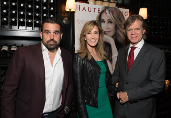 Haute Living's Seth Semilof, Felicity Huffman and William H Macy posed for a photo while celebrating with Tanqueray at Osteria Mozza in LA on Saturday.