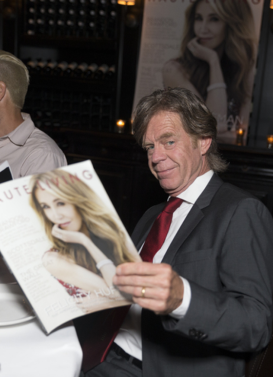 William H Macy was thrilled as he checked out his wife Felicity Huffman and her Haute Living San Francisco cover while celebrating with Tanqueray at Osteria Mozza in LA on Saturday.