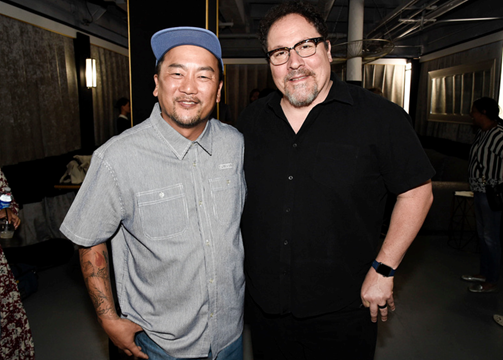 Chef Roy Choi and Jon Favreau catch up together back stage before the panel discussion, LA Times Food Bowl's Chefs Fable at The Wiltern in Los Angeles