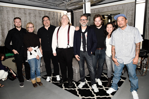 "(from left to right) David Gelb (director of ""Chef's Table"" and ""Jiro Dreams of Sushi""), Amy Scattergood (Los Angeles Times Food Editor), Jon Favreau (actor, producer and director of ""Chef""), Jonathan Gold (Los Angeles Times restaurant critic), Chef Massimo Bottura, Chef Magnus Nilsson, Chef Niki Nakayama, and Chef Roy Choi attend LA Food Bowl Chef's Fable at The Wiltern in Los Angeles."