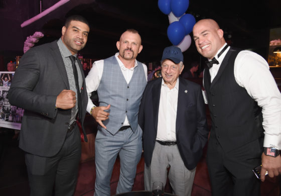 HOLLYWOOD, CA - SEPTEMBER 10: (L-R) Retired NHL Shawn Merriman, former UFC fighter Chuck Liddell, naseball Hall of Famer Tommy Lasorda (L) and MMA fighter Tito Ortiz at the Heroes for Heroes: Los Angeles Police Memorial Foundation Celebrity Poker Tournament at Avalon on September 10, 2017 in Hollywood, California. (Photo by Michael Kovac/Getty Images for Los Angeles Memorial Foundation)