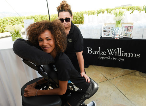 Erica Luttrell enjoying a massage provided by Burke Williams Day Spa