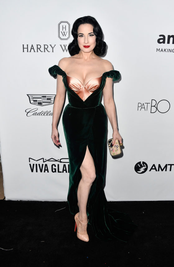 BEVERLY HILLS, CA - OCTOBER 13:  Dancer Dita Von Teese attends the amfAR Gala at Ron Burkle's Green Acres Estate on October 13, 2017 in Beverly Hills, California.  (Photo by Frazer Harrison/Getty Images)