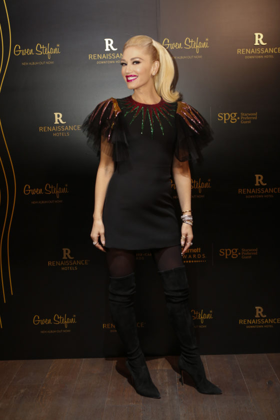 DUBAI, UNITED ARAB EMIRATES - DECEMBER 04:  Gwen Stefani attends the opening of the Renaissance Downtown Hotel, Dubai for Marriott Rewards & SPG Members at Renaissance Downtown Hotel, Dubai on December 4, 2017 in Dubai, United Arab Emirates.