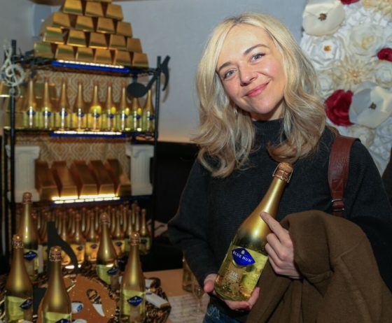 Grammy Winner Rachel Bay Jones enjoying her 24K Edition Blue Nun Sparling Wine